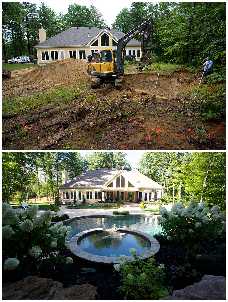A before and after shot of a pool made by Piscines Paramount