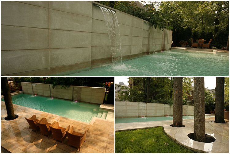 Collage of a few pictures of Piscines Paramount's and Groupe Paramount's work on a Nun's Island home's backyard