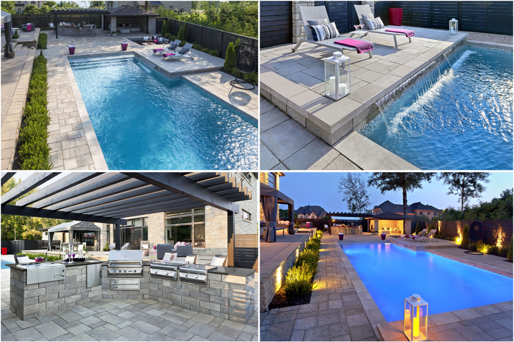 A collage of pictures showcasing a île-Perrot's backyard that Piscines Paramount and Groupe Paramount created.